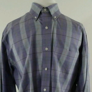T Harris London Men's Shirt Purple Checked Size L